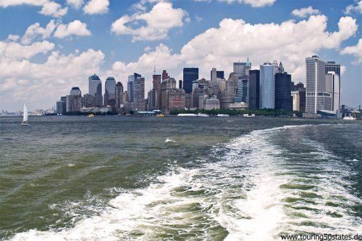 New York 2009, Blick von der Fähre nach Staten Island auf Manhattan, ohne One World Center