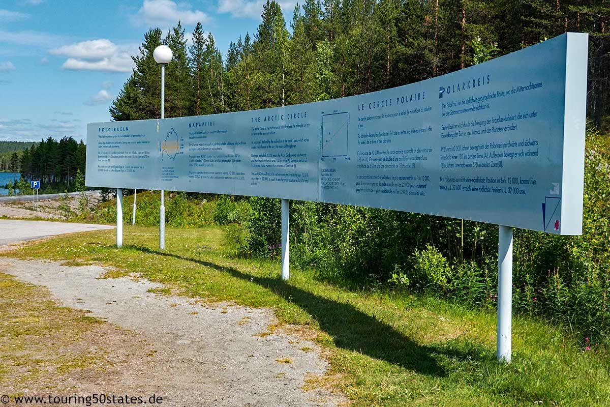 Erklärtafel am Polarkreis in Jokkmok, Schwedenk