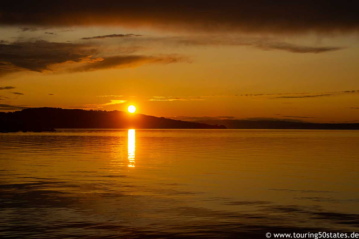 Sonnenuntergang über dem Mjøsasee